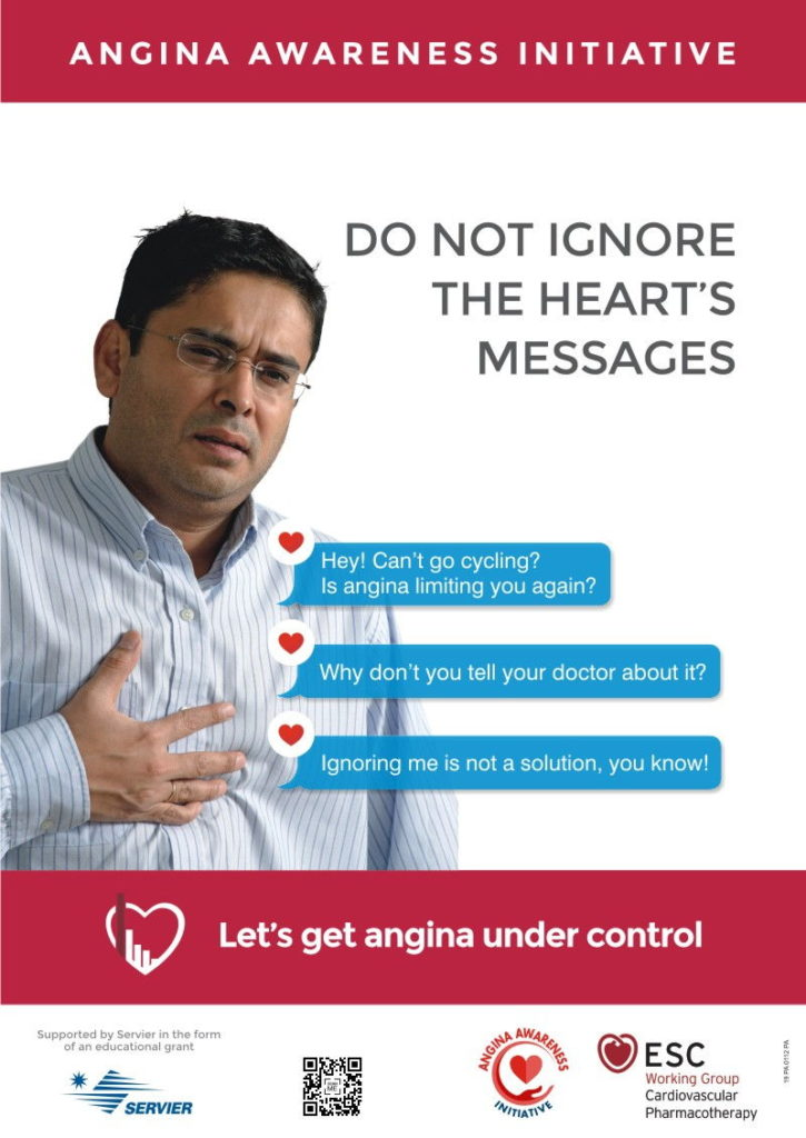 Do not ignore the heart messages | Cycling English Poster | Angina Awareness India