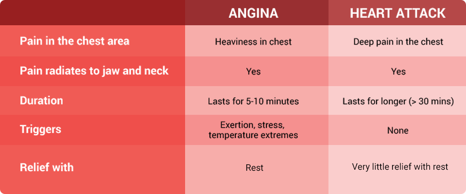 Difference between angina and heart attack | Angina Awareness India