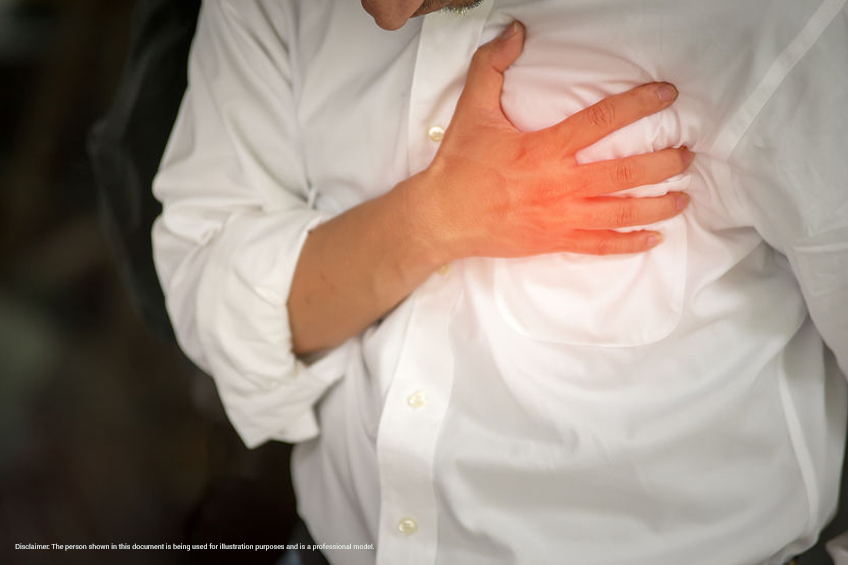 person with chest pain